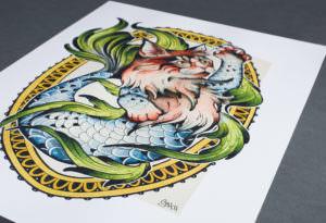 Golden Sphynx Tattoo Reproduktion